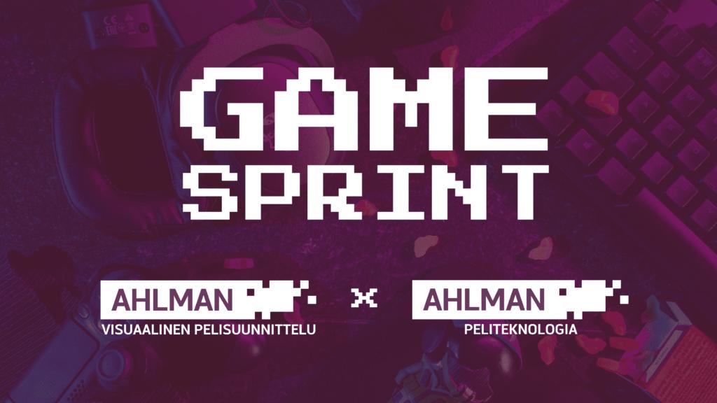 Banner kuva. Kuvassa Ahlmanin pelisuunnittelu linjojen logot ja teksti Game Sprint