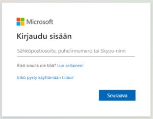 Microsoftin kirjautumisikkuna